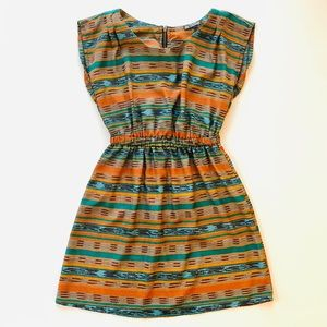 BeBop Orange and Green Striped Multicolor Dress